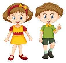 Happy boy and girl standing - Download Free Vectors, Clipart Graphics &  Vector Art